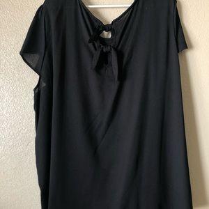 Plus size black cap sleeve blouse